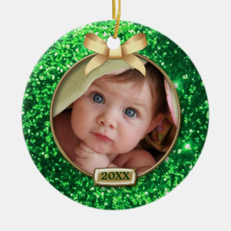 Sparkle Green/Gold Bow Photo Christmas Ornament