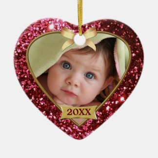 Sparkle Hearts (red/gold) Photo Ornament