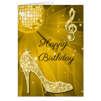 Sparkle Heels Gold Disco Ball Card