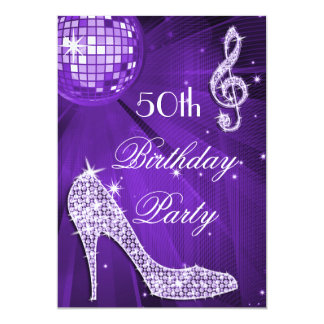 Sparkle Heels Purple Disco Ball 50th Birthday 13 Cm X 18 Cm Invitation Card
