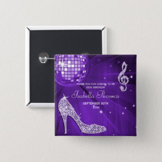 Sparkle Heels Purple Disco Ball Birthday Thank You 15 Cm Square Badge