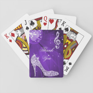 Sparkle Heels Purple Disco Ball Birthday Thank You Playing Cards