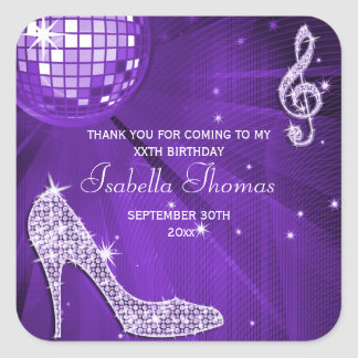 Sparkle Heels Purple Disco Ball Birthday Thank You Square Sticker