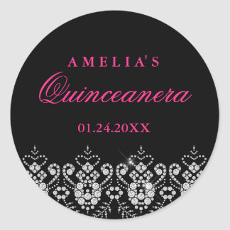 Sparkle Jewel Black Hot Pink Quinceanera Sticker