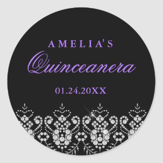 Sparkle Jewel Black Purple Quinceanera Sticker