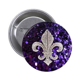 Sparkle jewel Fleur De Lis Sequins Purple 6 Cm Round Badge