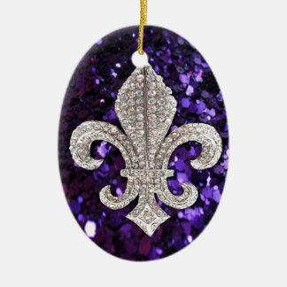 Sparkle jewel Fleur De Lis Sequins Purple Ceramic Oval Decoration