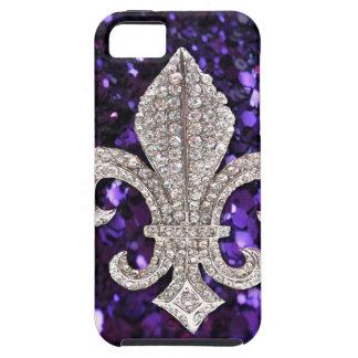 Sparkle jewel Fleur De Lis Sequins Purple iPhone 5 Cover