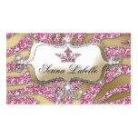 Sparkle Jewellery Business Card Zebra Crown Pink