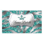 Sparkle Jewellery Business Card Zebra Crown Teal