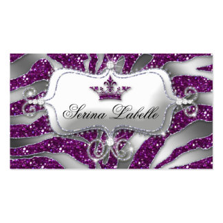 Sparkle Jewelry Business Card Zebra Crown Purple
