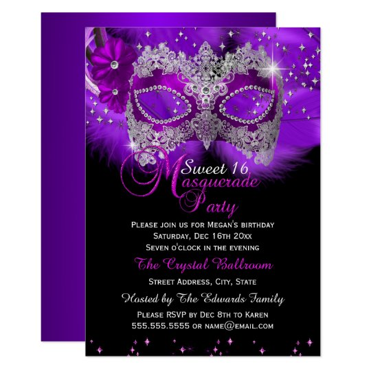 Sparkle Lace Mask Purple Masquerade Sweet 16 Invitation
