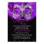 Sparkle Lace Mask Purple Masquerade Sweet 16 13 Cm X 18 Cm Invitation Card