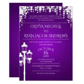 Sparkle Lamp Post Gala Purple Wedding Card