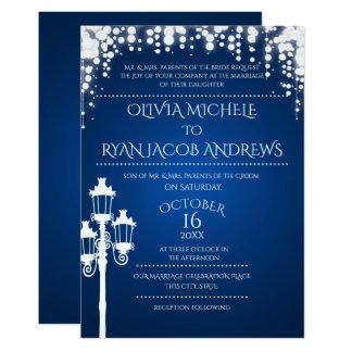 Sparkle Lamp Post Gala Wedding Sapphire 13 Cm X 18 Cm Invitation Card
