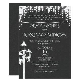 Sparkle Lamp Post Gala Wedding Slate Card