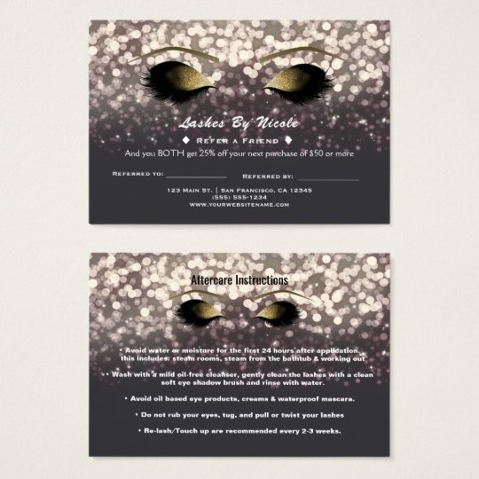 Sparkle Lights Glam Lashes Refer Friend Aftercare Business