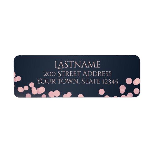 Sparkle Lights Pink and Navy Blue Address Return