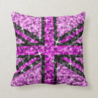 Sparkle Look UK Pink Black throw pillow square Cushions