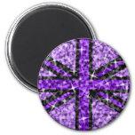 Sparkle Look UK Purple Black fridge magnet round