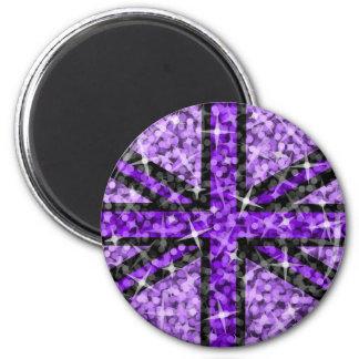 Sparkle Look UK Purple Black fridge magnet round Fridge Magnet