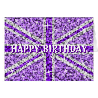 Sparkle Look UK Purple 'Happy Birthday' front text Greeting Card