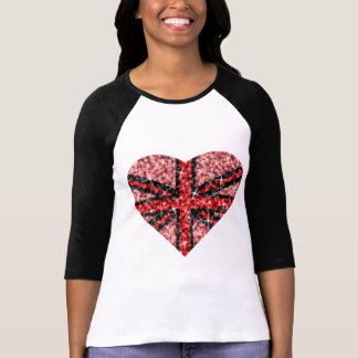 Sparkle Look UK Red Heart Black 3/4 sleeve Tee Shirts