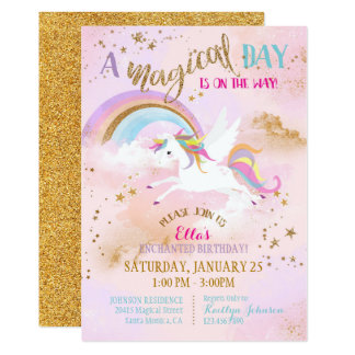 Sparkle Magical Unicorn Pegasus Birthday Card