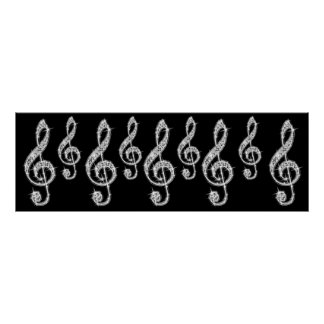 Sparkle Music Notes  Birthday Poster