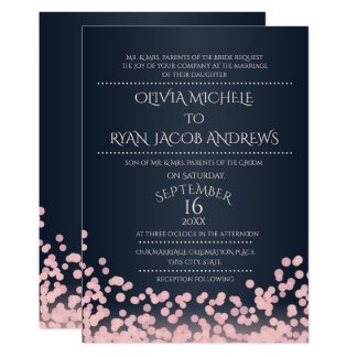Sparkle Pink and Navy Confetti Gala Wedding 13 Cm X 18 Cm Invitation Card