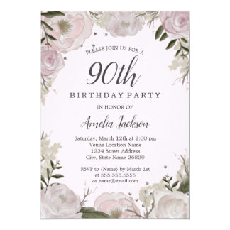 Sparkle Pink Floral 90th Birthday Party Card