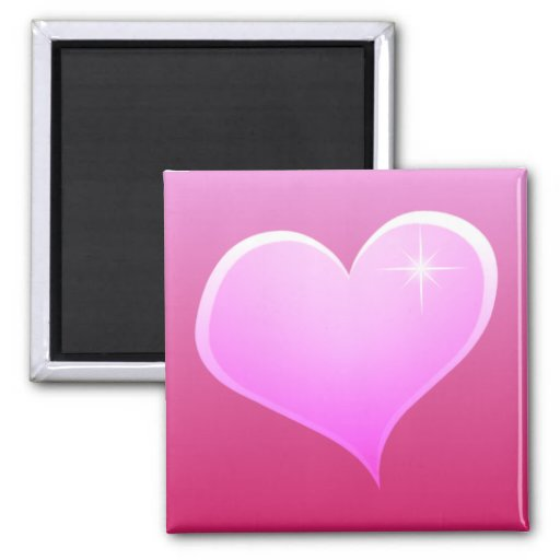 Sparkle Pink  Heart Square Magnet