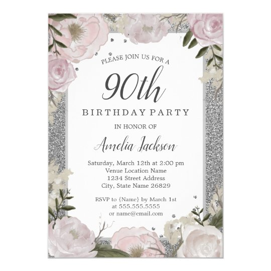 Sparkle Pink Silver Floral 90th Birthday Party Invitation