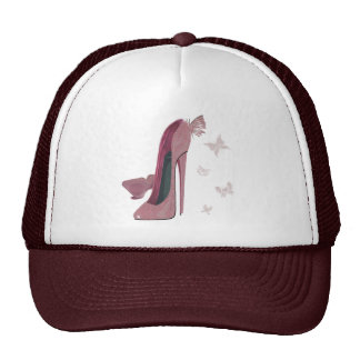 Sparkle Pink Stiletto and Butterfly's Art Mesh Hats