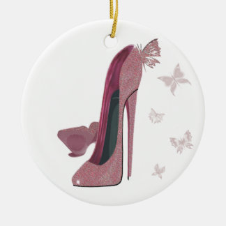 Sparkle Pink Stiletto and Butterfly's Art Round Ceramic Decoration