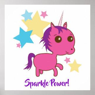 Sparkle Power Positive Fun Pink Unicorn Poster