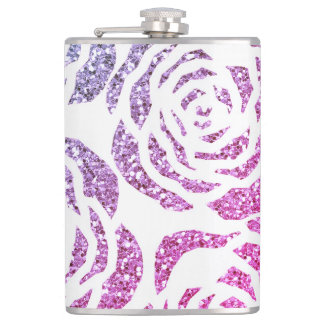 Sparkle Purple & Pink Roses Flask 8oz Flask