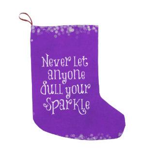 Sparkle Quote Purple Christmas Small Christmas Stocking