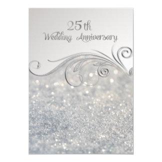 Sparkle Silver 25th Wedding Anniversary Card