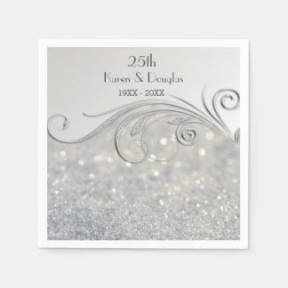 Sparkle Silver 25th Wedding Anniversary Disposable Napkin