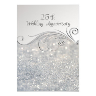 Sparkle Silver 25th Wedding Anniversary-ver2 Card