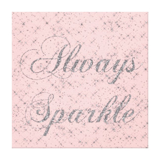 Sparkle Silver Glitter Stretched Canvas Print