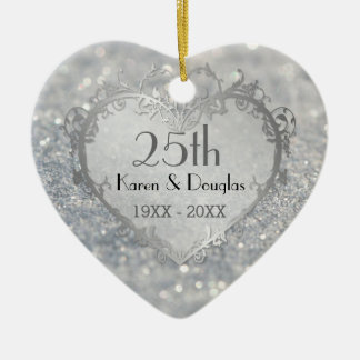 Sparkle Silver Heart 25th Wedding Anniversary Ceramic Heart Decoration