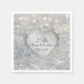 Sparkle Silver Heart 25th Wedding Anniversary Disposable Serviette