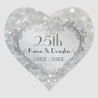 Sparkle Silver Heart 25th Wedding Anniversary Heart Sticker