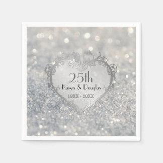 Sparkle Silver Heart 25th Wedding Anniversary Paper Napkin