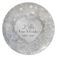 Sparkle Silver Heart 25th Wedding Anniversary