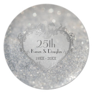 Sparkle Silver Heart 25th Wedding Anniversary Party Plates