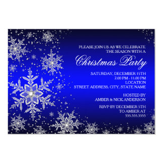 Sparkle Snowflake Blue Christmas Party Invite