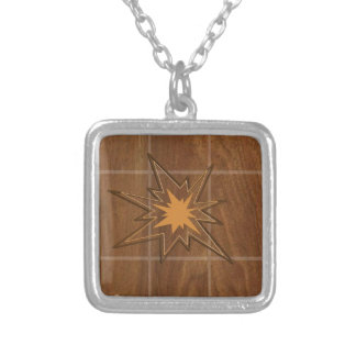 Sparkle STAR American WALLNUT Wood Panel LOWPRICE Square Pendant Necklace